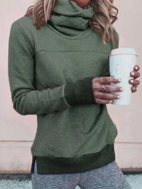 Cowl Neck Plain Vintage Long Sleeve Sweatshirt