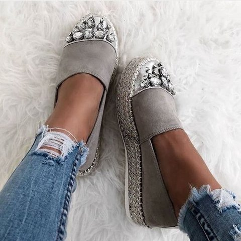 Gray Platform Rhinestone Holiday Flats