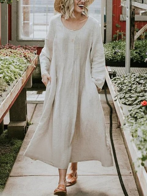 Women Summer Plus Size Casual Solid Long Sleeve Pockets Dresses