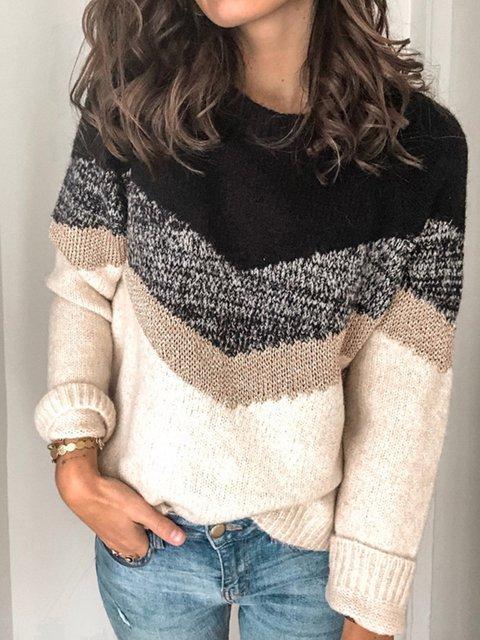 Color-Block Crew Neck Casual Sweaters