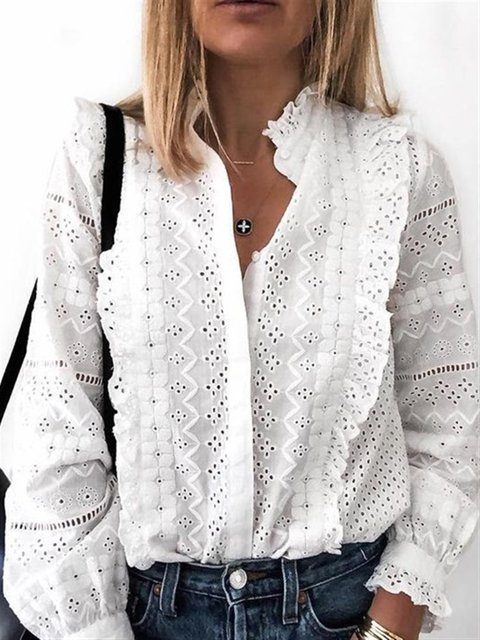 Long Sleeve Cotton-Blend Floral Shirts & Tops