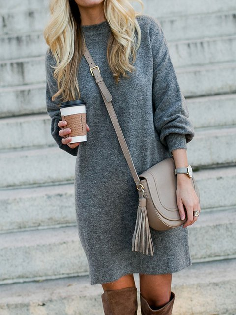 Crew Neck  Shift Daily Knitted Plain Dresses