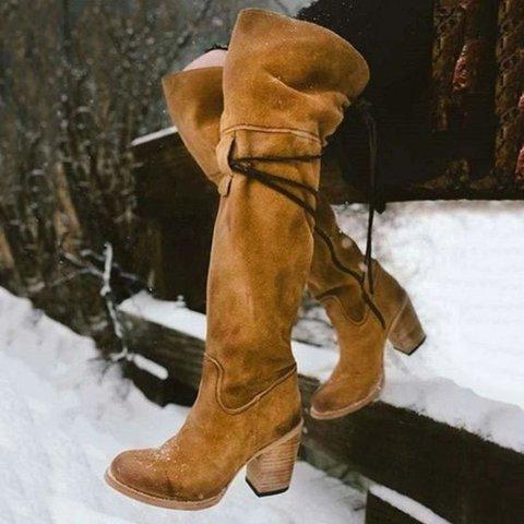 Winter Block Heel Strap Snow Boots
