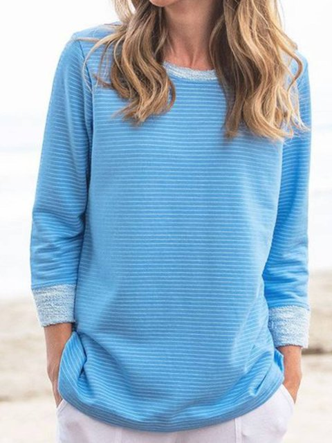 Blue Long Sleeve Crew Neck Shirts & Tops