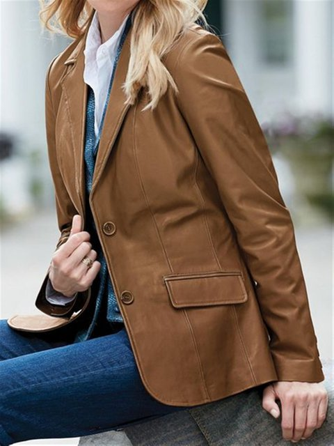 Brown Leather Lapel Long Sleeve Outerwear