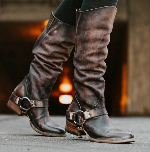 Blocking Hook-Loop Pu Knee-high Boots