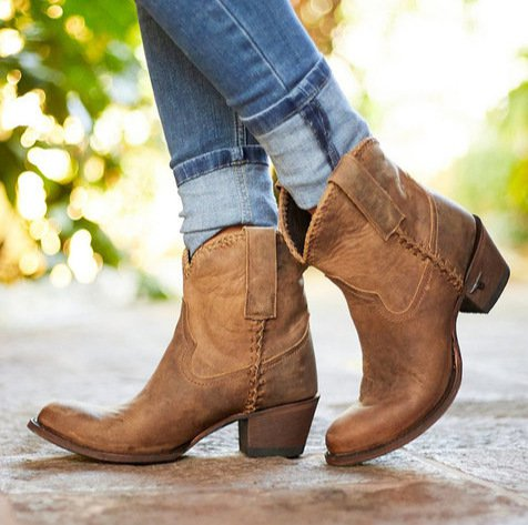 Women Outdoor Cowboy Ankle Boots