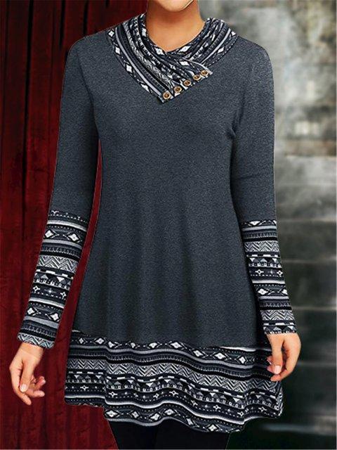 Cowl Neck Vintage Tribal Long Sleeve Shirts