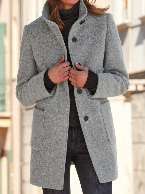Gray Sherpa Long Sleeve Solid Cotton-Blend Stand Collar Coats