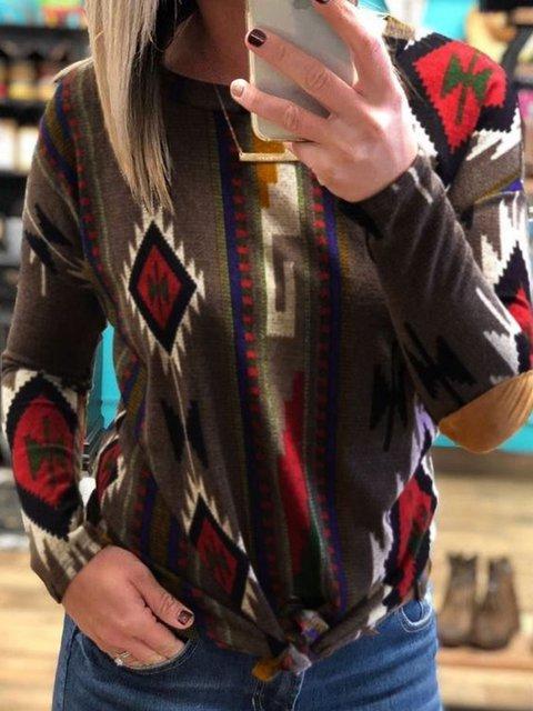 Vintage Long Sleeve Geometric Shirts & Tops