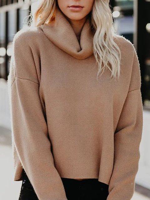 Khaki Turtleneck Long Sleeve Shift Sweater