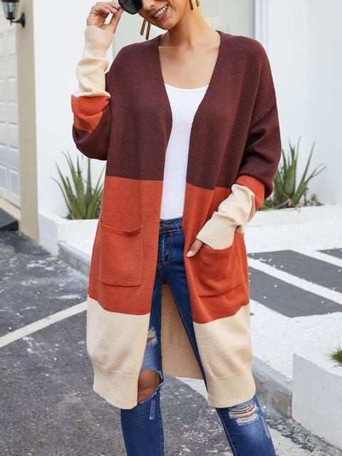 Womens Color-block Casual Sweater Cardigan