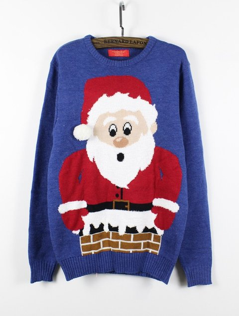 Blue Casual Christmas Snowman Polyester Fibre Crew Neck Sweaters