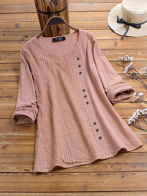 Casual Crew Neck Shirts Blouses