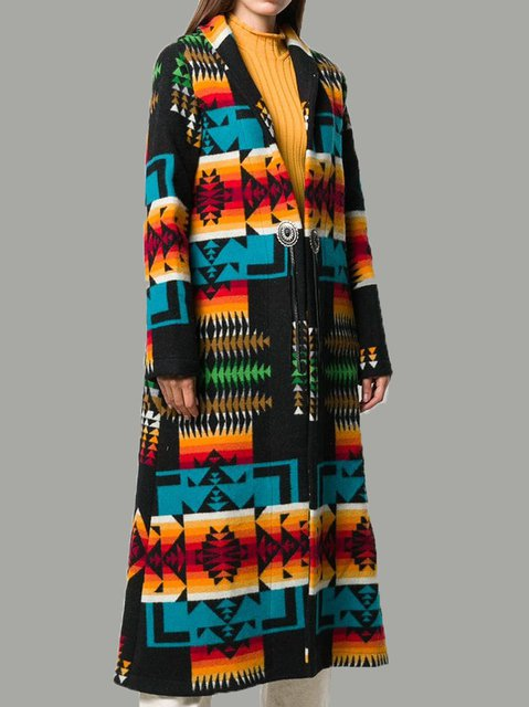 Blue Lapel Boho Outerwear