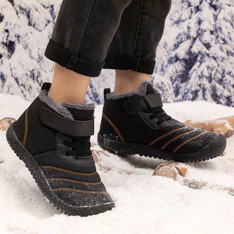 Womens Padded Warm Snow Boots Magic Tape Flat Heel Winter Boots