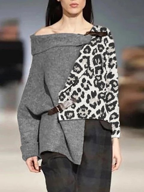 Casual Acrylic Color-Block Sweater