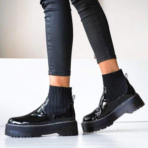 Womens Platform Slip On Rubber Sole Pu Comfortable Boots