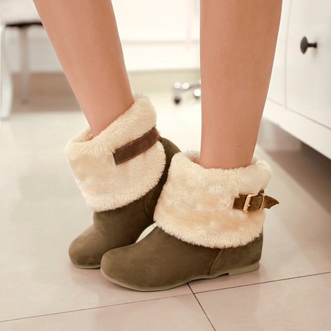 Low Heel Round Toe Buckle Slip-On Snow Boots