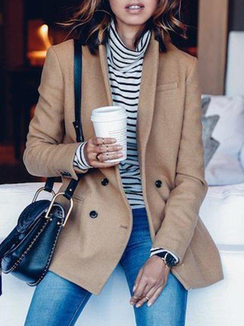 Solid Work Pockets Blazer Long Sleeve Jacket