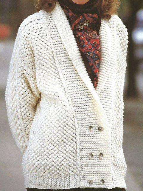 Women Shawl Collar Buttoned Vintage Sweater Cardigan