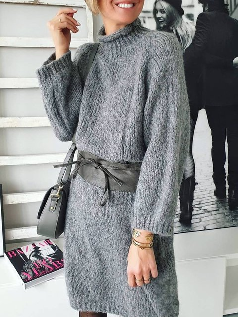 Women Crew Neck Solid Casual Sweater Dress