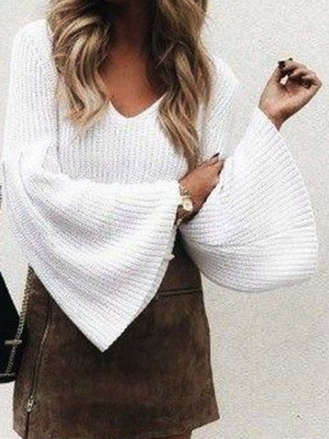 White Bell Sleeve Solid Knitted Sweaters
