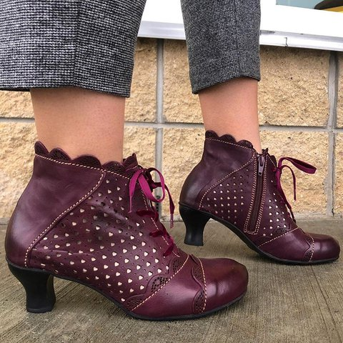 Bordeaux Lace-Up Hollow Out Elegent Boots All Season Loafers