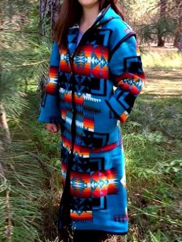 Blue Boho Color-Block Outerwear