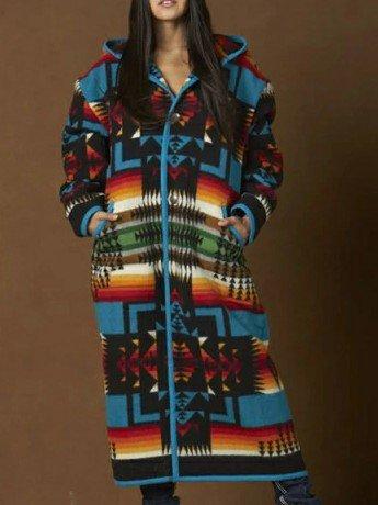 Blue Wool Boho Shift Outerwear