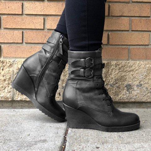 Plus SIze Wedges Adjustable Buckle Wedge Heel Round Toe Boots