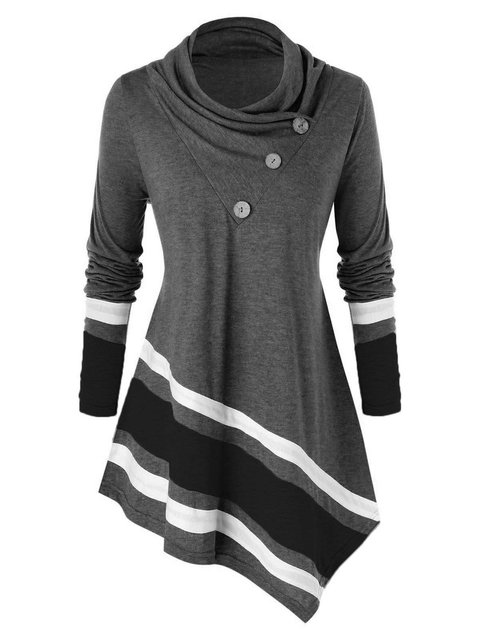 Striped Mini Dress Cowl Neck Paneled Shirt