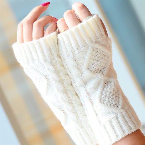 Half Finger Gloves Warm Knit Short Sleeve