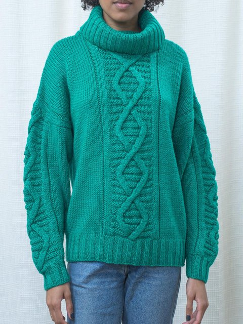 Cable Knit Turtleneck Sweater Warm Thick Pullovers