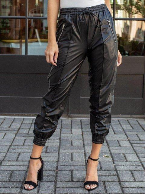 Black Casual Faux Leather Pants