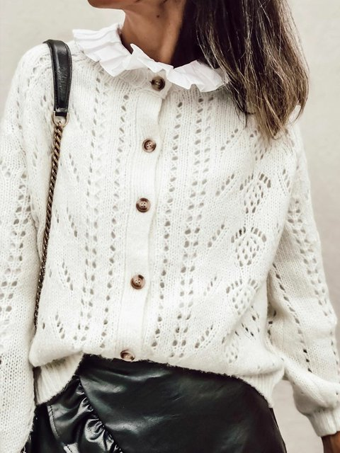 Women Eyelet Buttoned Solid Sweater Cardigans