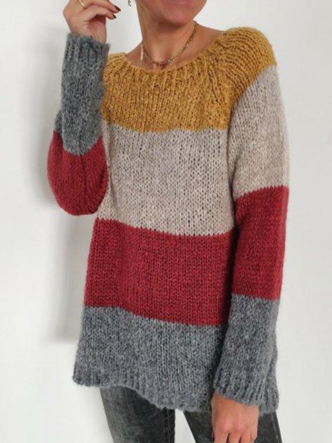 Women Color-block Striped Casual Sweater