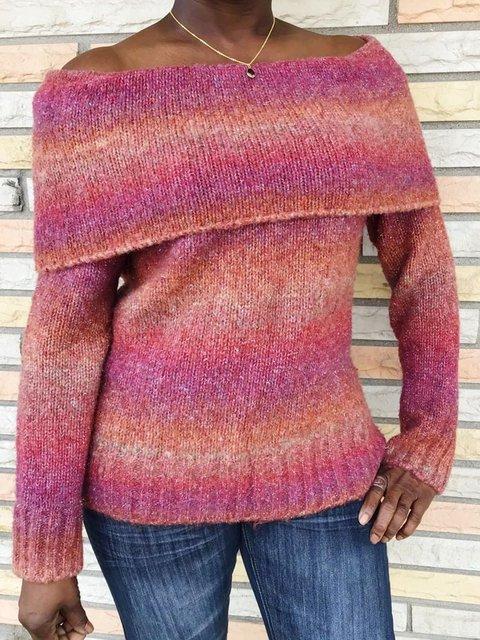 Women Off Shoulder Color-Block Sweater
