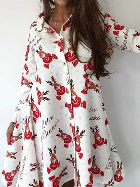 Women Christmas Pattern Printed Dresses