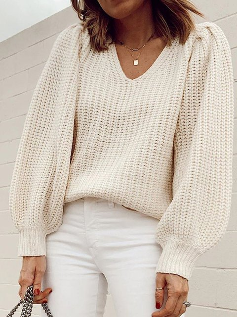Plus Size Women V-Neck Casual Sweater