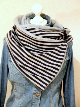 Casual winter striped warm scarf
