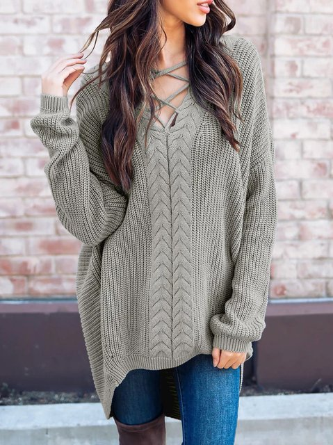 Casual Jersey Knitted V Neck Long Sleeve Sweater