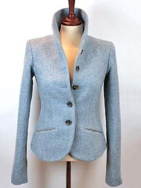 Light Blue Cotton-Blend Elegant Shawl Collar Outerwear