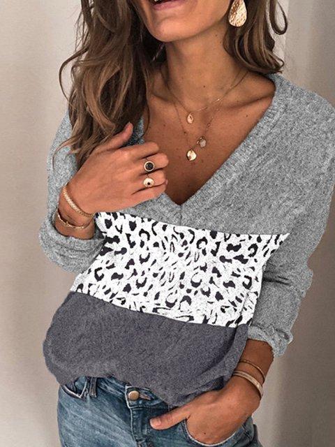 Gray Color-Block V Neck Casual Sweater