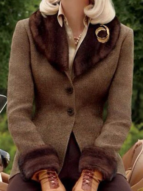 Brown Paneled Plain Long Sleeve Shawl Collar Outerwear