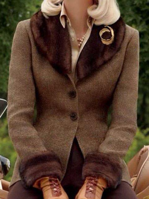 Brown Paneled Plain Long Sleeve Shawl Collar Outerwear