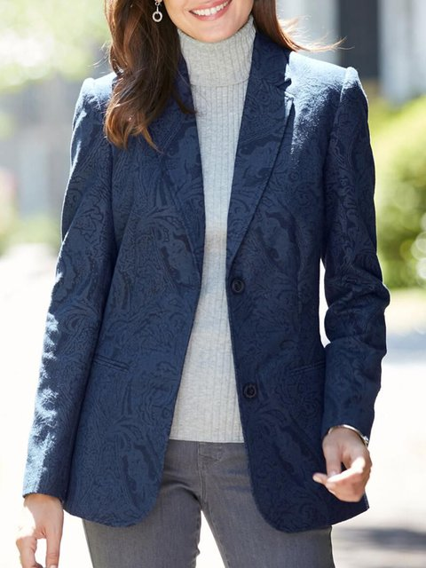 Blue Cotton-Blend Long Sleeve Shawl Collar Outerwear