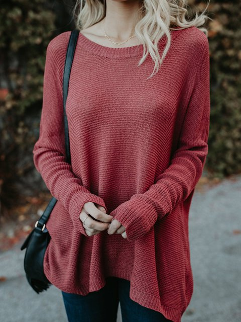 Red Plain Knitted Basic Shift Sweater