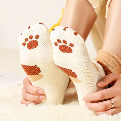 Thickened Curled Cute Cat Claw Footprint Socks