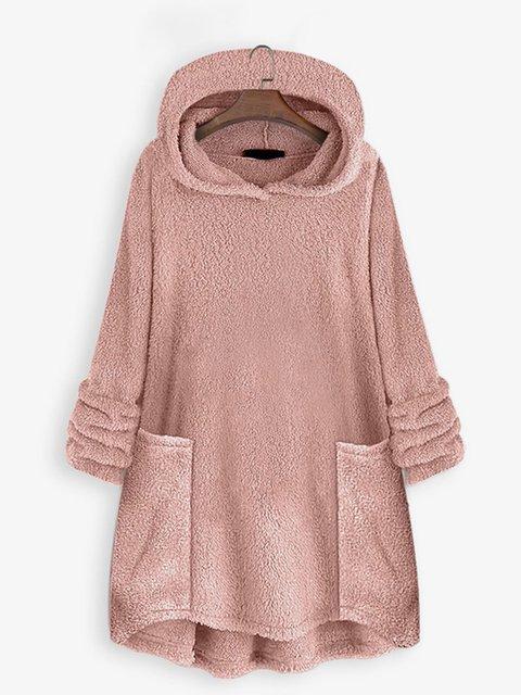 Solid Hoodie Sherpa Sweatshirt Plus Size